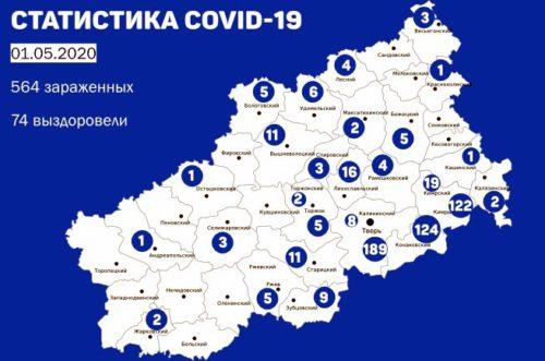 Информация оперативного штаба по предупреждению завоза и распространения коронавирусной инфекции в Тверской области за 1 мая