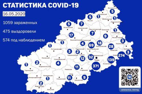 Информация оперативного штаба по предупреждению завоза и распространения коронавирусной инфекции в Тверской области за 16 мая