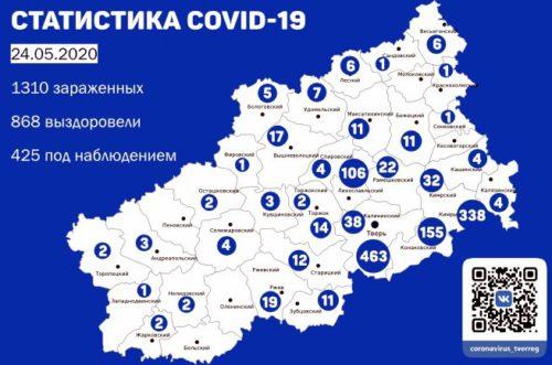 Информация оперативного штаба по предупреждению завоза и распространения коронавирусной инфекции в Тверской области за 24 мая