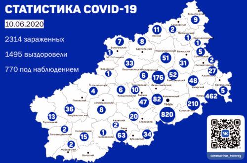 Информация оперативного штаба по предупреждению завоза и распространения коронавирусной инфекции в Тверской области за 10 июня