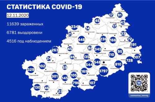 Информация оперативного штаба по предупреждению завоза и распространения коронавирусной инфекции в Тверской области за 12 ноября