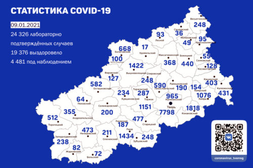 Информация оперативного штаба по предупреждению завоза и распространения коронавирусной инфекции в Тверской области за 9 января