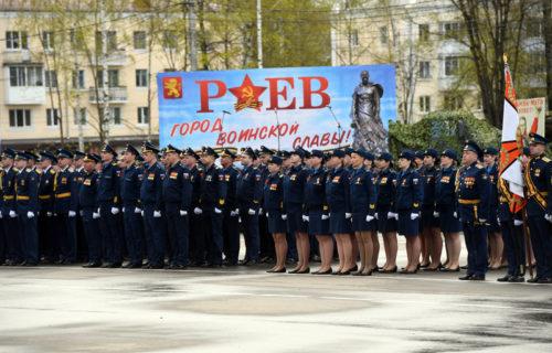 У стелы «Ржев - город воинской славы» прошло торжественное мероприятие в честь 76-ой годовщины Великой Победы